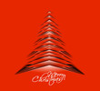 red christmas tree, design, vector illustration.