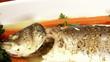 Fish, sea bass, served