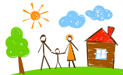 happy family, simply painted picture like vector illustration