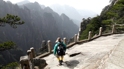 Hiker in Huangshan National Park, Anhui province, China.