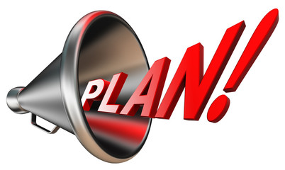 plan red word in bullhorn