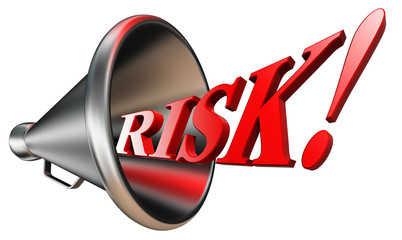 risk red word in bullhorn