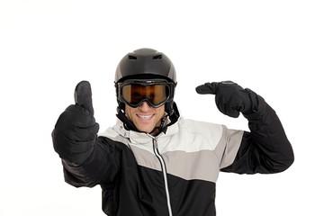 Skifahrer Daumen hoch mit Helm