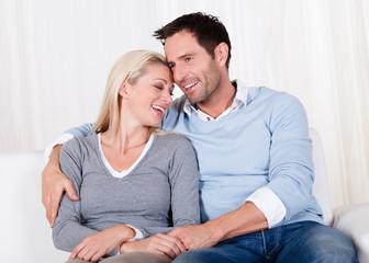 Romantic couple rubbing noses