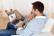 Loving couple having video conference