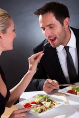 Romantic couple at the restaurant