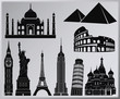 world wonders vector collection - nine piece