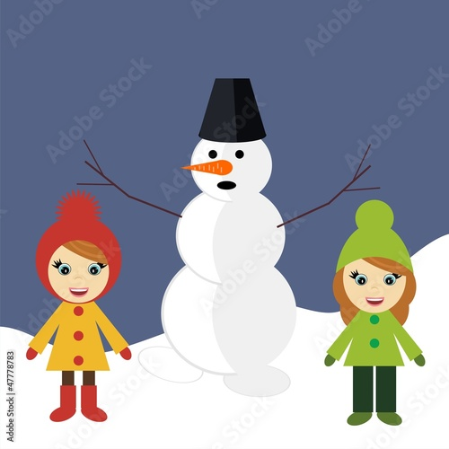 nice girls and snowman outdoor