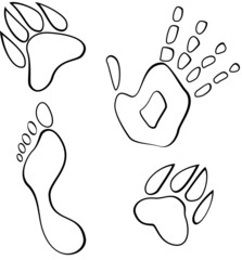Black and white footmarks vector