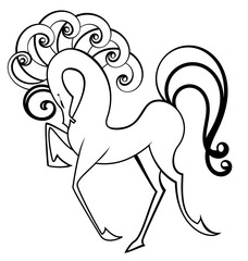 Black and white swirl horse vector
