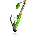 Paintbrush paint a green light bulb