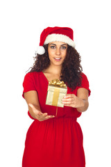 Pretty woman in Christmas with a gift