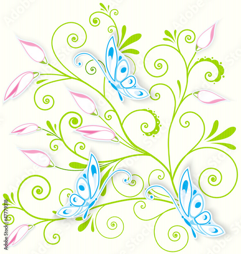 Butterfly on swirl texture vector