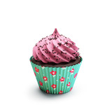 Isolated pink and green chocolate strawberry cupcake, dessert
