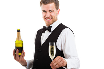 Waiter serving a champagne flute