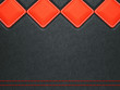 Leather background with red stitch and rhombuses