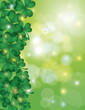 Shamrock Leaves with Bokeh Border Illustration