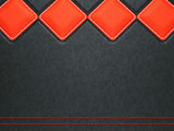 Leather background with red stitch and rhombuses poster