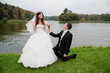Handsome bride and funny groom