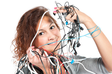 A young woman with the bunch of wires