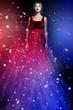 Romantic beauty woman in elegant red dress