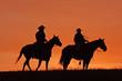 Fototapeten,silhouette,cowboy,pferd,pferderücken