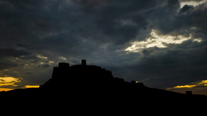 Slovakia Castle Spis sunset clouds
