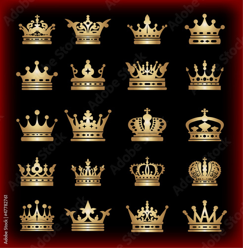 Crown. Gold set. Collection icons. Vector. Vintage.