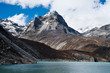 Summit and Sacred Lake near Gokyo in Himalayas