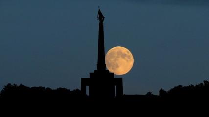 Slovakia Slavin memorial Bratislava moonrise