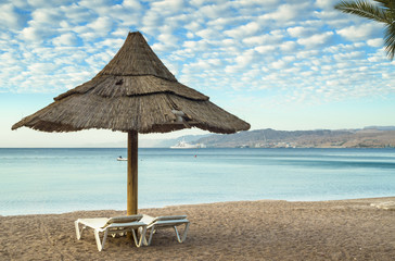 Sandy beach of Eilat - famous resort city of Israel