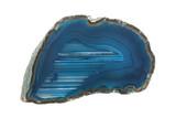 Mineralien:  Blaue Achatdruse auf weißem Hintergrund