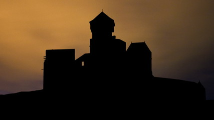 Slovakia Trencin Castle night clouds
