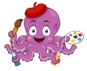 illustration of Cartoon Artist octopus