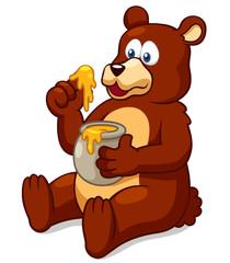 Illustration of Bear eating honey vector