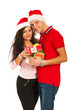 Happy Xmas couple holding presents