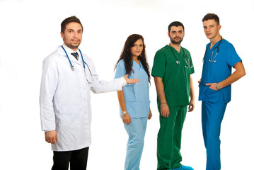 Hospital manager and doctors team