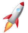 cartoon rocket isolated