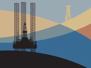 Sea Oil Rig Drilling Platform on abstract background, vector