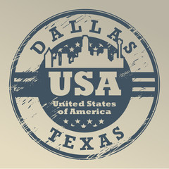 Grunge rubber stamp with name of Texas, Dallas, vector
