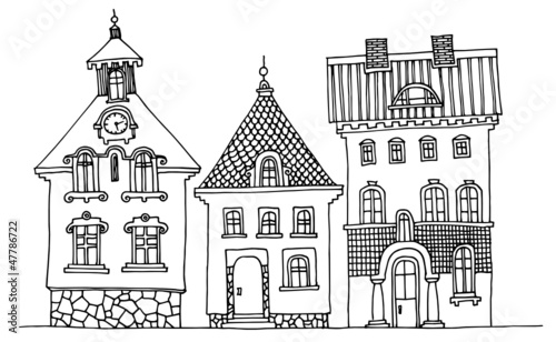 Cartoon hand drawing houses - 47786722