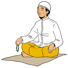 Portrait of asian muslim man praying on mat