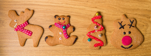 Decorated homemade gingerbread cookies
