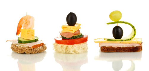 Canapes isolated on white