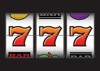 Winning Triple Seven at slot machine