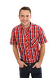 Junger lächelnder Mann im rot-kariertem Hemd
