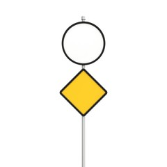 Blank round and yellow road sign