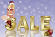 Winter sale banner with xmas girl, vector illustration