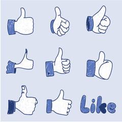 Like Hand Icon Set