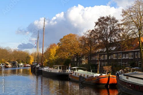 ships on the canal in Groningen